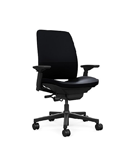 Steelcase Amia Chair, 4-way Adjustable Arms, Leather
