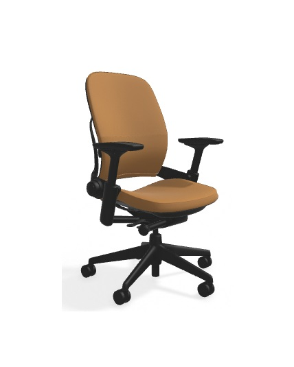 black in fabric titanium chair and steelcase base leap