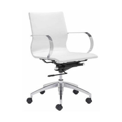 Office Chair At Work Modern White Leather Polished Frame Brand New
